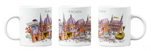 Espressotasse mit Jacques Tilly Motiv Aachener Panorama