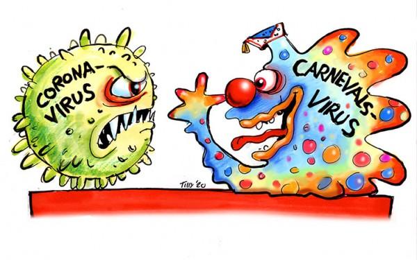 Jacques Tilly Leinwand Carnevalsvirus contra Coronavirus