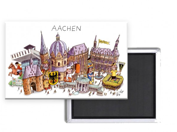 Magnet mit Aachen Panorama von Jacques Tilly