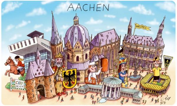 Frühstücksbrettchen mit Aachener Panorama von Jacques Tilly
