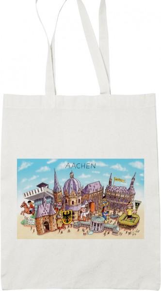 Baumwollbeutel mit Aachener Panorama von Jacques Tilly